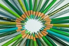 Shades of Green Pencils ....