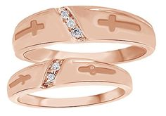 White Natural Diamond His & Hers Cross Wedding Band Set in Rose Gold Cttw) Wedding Jewelry For Bride, Feel Unique, Wedding Band Sets, Diamond Cross, Photo Jewelry, Natural Diamonds, Wedding Engagement, Great Gifts, Fiancee