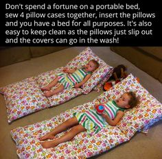 Easy to make portable bed! Perfect for grandchildren or last minute guests!! Three pillows needed!! Ingenious!!