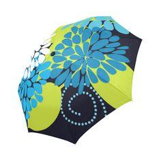 Blue Aqua Modern Abstract Floral Auto-Foldable Umbrella
