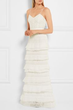 Self-Portrait - Penelope Tiered Crepon-trimmed Guipure Lace Gown - White - UK14