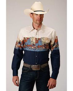 Western Outfits, Western Shirts, Western Wear, Red Redemption 2, Border Print, Westerns, Long Sleeve Shirts, Future Goals, Mens Fashion