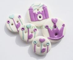 Princess Castle - polymer clay buttons: