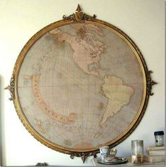frame old maps in old frames! want this for my room Diy Deco Rangement, Map Crafts, Art Carte, Home Decoracion, Map Globe, Globe Art, Deco Originale, Framed Maps, Vintage Maps
