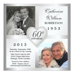 Custom Silver Diamond Anniversary Photo Invitations created by th_party_invitations. This invitation design is available on many paper types and is completely custom printed. 60th Anniversary Parties, Wedding Anniversary Invitations, Photo Wedding Invitations, 25th Wedding Anniversary, Silver Anniversary, Diamond Anniversary, Anniversary Cards, Anniversary Ideas, Photo Heart