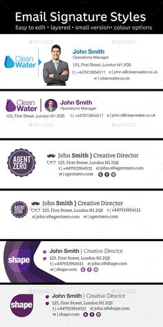 6 Email Signature Styles - Miscellaneous Web Elements