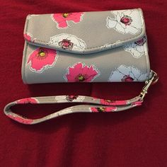 Super cute Wristlet with cell phone compartment gray, pink and white Wristlet with 4 card slots and cell phone holder- holds iPhone 5 or smaller jcpenney Bags Clutches & Wristlets