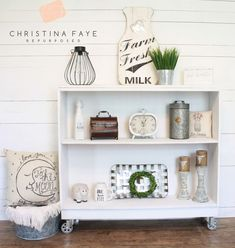 How I Repurposed a Curbside Bookcase Into a Farmhouse Console Table with Casters Diy Farmhouse Coffee Table, Farmhouse Style Coffee Table, Decor, Farmhouse Console Table, Shabby Furniture, Farmhouse Shelves, Pallet Wall Decor, Coffee Table Farmhouse, Bookcase Makeover