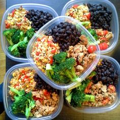 meal prep - brown rice with peppers, steamed broccoli, satueed turkey and black beans