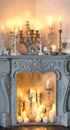 Modern Fairytale / Cinderella / karen cox. Fireplace with candles,