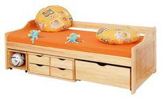 Funktionsbett Maxima 90 x 200 Kiefer Massivholz mit vielen Schubladen