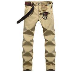s Casual Business Elastic Slim Fit Pants Solid Color Cotton Pants (74 BAM) ❤ liked on Polyvore featuring men's fashion, men's clothing, men's pants, men's casual pants, khaki, mens slim fit khaki pants, mens slim khaki pants, mens elastic waist pants, mens zip off pants and mens elastic waist khaki pants