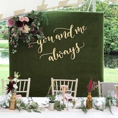 Gorgeous wedding in a stretch tent next to a lake styled by the bride who did the most beautiful job we laser cut the backdrop lettering which was designed by . Head Table Backdrop, Wall Backdrops, Backdrop Decorations, Bridal Shower Decorations, Wedding Decorations, Wedding Backdrops, Bridal Shower Rustic, Rustic Wedding, Wedding Stage