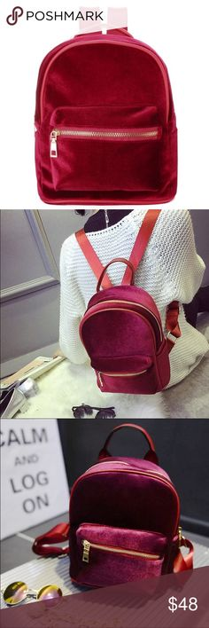 Last One❣ Red Mini Velvet Backpack NWT Boutique Backpack, Just in! Mini backpacks! This is a red velvet back pack with gold finishings. Outside Front Zipper Pocket. Front Zipper closure. Inside zipper pocket. Gray inside lining. Measurements: 9 x 10 x 5 inches. Hand Held Strap. Adjustable Back straps. Material: Velvet, Vegan Leather, Alloy. Not Nastygal Brand Nasty Gal Bags Backpacks