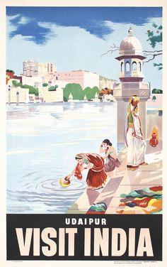 Beautiful Original 1950s India Udaipur Travel Poster