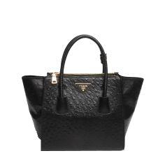 Cheap Bags Online Prada Ostrich Leather Tote Bag BN2625 Black d0f7653c42723