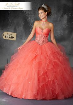 Valencia Quinceanera by Morilee 60053 Crystal Beaded Corset Bodice with Draped Satin Detail on a Ruffled Tulle Ball Gown. Matching Bolero Jacket Elegantly laced corset bodices w Quince Dresses, Ball Dresses, 15 Dresses, Cute Dresses, Ball Gowns, Light Up Dresses, Chiffon Dresses, Strapless Dress, Fashion Dresses