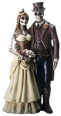 Love Never Dies Steampunk Skeleton Wedding Cake Topper
