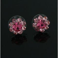 White Gold GP Pink Crystal Flower Stud Earrings 864M #DiamantJewels #Stud