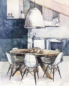 Moleskine's Close-up _ #t_druzhinina 2018 . . . #illustration #interiordesign #interior #oldfashioned #design #watercolor #architecture…