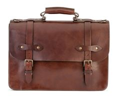 Vintage Brooks Brothers Italian Doctor Lawyer Brown Leather Briefcase Messeger