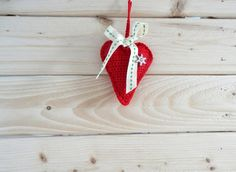 Red crochet heart  filled with dried by ILoveCrochetByAnna on Etsy.