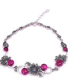Cubic Zirconia/Rhinestone Link/Chain Bracelet