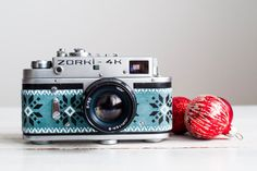 Zorki 4K - vintage functional soviet camera for lomography, working condition camera refurbished with printed leather (Jupiter 8 lens incl.)