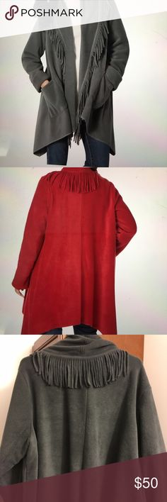"""NWOT Woman Within Fleece With Fringe Trapeze Style Fleece Jacket. Angled Pockets. Washable Anti-Pill Knit Fleece. Cozy Jacket for a brisk day. 34"""" grazes the lower thigh. Never worn- Smoke Free Woman Within  Jackets & Coats"""