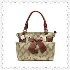 #BestSeller #ValueSpree The More Coach Poppy Bowknot Signature Medium Coffee Totes ANA You Buy, The More Discounts You Will Get!