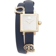 Tory Burch Saucy Watch ($395) ❤ liked on Polyvore featuring jewelry, watches, accessories, jewels, square face watches, leather band watches, slim watches, charm jewelry and wrap watch