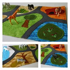 Items similar to Zoo Travel Toy Play Mat - Safari Zoo Play On The Go Play Scene on Etsy Manta Animal, Diy For Kids, Gifts For Kids, Travel Toys, Zoo Travel, Felt Kids, Make Do And Mend, Operation Christmas Child, Felting Tutorials