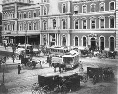 36. Grand Central Station at 42nd Street, New York, 1875. A deceptively small and elegant Paris-style hotel façade conceals the overarching ...