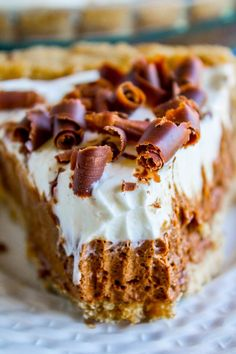 slice of French silk pie with whipped cream