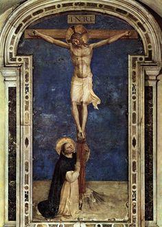 Saint Dominic Adoring the Crucifixion oil painting by Fra Angelico (Guido di Pietro), The highest quality oil painting reproductions and great customer service! Fra Angelico, Catholic Art, Catholic Saints, Religious Art, Religious Icons, Roman Catholic, Saint Dominic, Drive In, Italian Renaissance