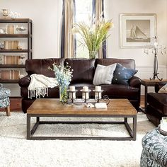 Living Room Furniture Leather brown leather sofa set for living room with dark hardwood floors
