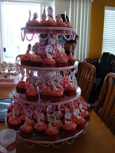 Hello Kitty cupcakes and stand.
