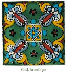 Our decorative Green Leaf Talavera tiles with hand painted pattern are all made in Mexico. Tile Art, Mosaic Art, Arabesque, Mexican Ceramics, Talavera Pottery, Mexican Art, Mexican Tiles, Mediterranean Decor, Hand Painted Ceramics