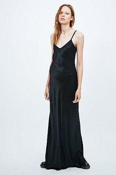 Ghost Mel Long Satin Slip Dress in Black #camidress #women #covetme #ghost