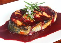 My new favorite way to fix salmon, grilled with backberry sauce.
