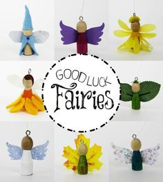 Who couldn't use a little more luck? These fairies are here to bring it! Made from a regular clothespin and things you having lying around the house you can hang them anywhere. Bring the luck of the fae into your life! In honor of International Fairy Day!