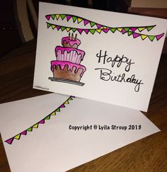 Happy Birthday card with coordinating envelope  on Etsy, $5.00