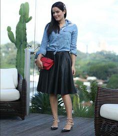 Blog da Mariah/camisa jeans +saia