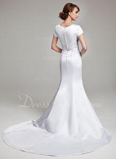Trompete/Sereia Decote V Cauda longa Cetim Vestido de noiva com Pregueado Apliques de Renda (002001670)