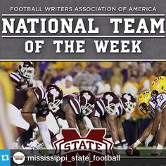 @mississippi_state_football---Thanks to our amazing Players,Coaches,Fans, and Hustle this week we have been announced as the college football team of the week! Not only that but we are also ranked 14th in the AP Poll. As always, its a great time to be a Dawg! #hailstate #dakforheisman #dakforhe15man