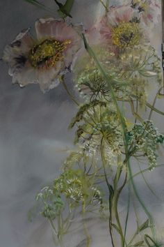PAINTING – Claire BASLER Botanical Art, Botanical Illustration, Portraits Pastel, Art Shed, Painting Techniques, Watercolor Flowers, Painting Inspiration, Garden Art, Flower Art