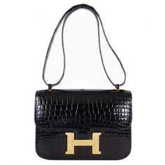 Pre-Owned Hermes Black Crocodile Porosus Constance 23 Flap Bag Hermes Purse, Hermes Bags, Hermes Handbags, Black Handbags, Balenciaga Handbags, Hermes Birkin, Leather Purses, Leather Handbags, Circle Purse