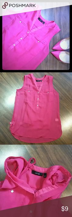 Apt. 9 Hot Pink Sheer Sleeveless Blouse Pretty half button blouse from Kohl's. Sleeveless. No collar. Great condition. The only thing is the attached cami underneath had become unattached on one side, but it still functions in the same way. Looks great with a white or silvery scarf as it starts to get cooler. Apt. 9 Tops Blouses