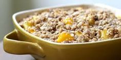 Mango Pineapple Crisp:  Filling:  2 lbs frozen mango chunks, thawed  1 c. cubed fresh pineapple   1/8 c sugar  1/8 c tapioca  1 tsp lemon juice  ½ tsp almond extract    Oatmeal topping:  1 c rolled oats   3/8 c whole wheat flour  ¾ c brown sugar   1/3 c pecan pieces  4 Tbs canola oil  1 ½  tsp minced fresh ginger  1. Stir together filling. Let stand 20 min.  2. Pulse topping ingredients in food processor. Assemble crisp in greased 9x13 dish.  3. Bake 35-40 min. at 350. Cool 30 min.