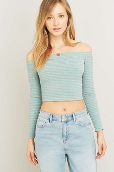 Urban Outfitters Lettuce Edge Striped Off-The-Shoulder Top